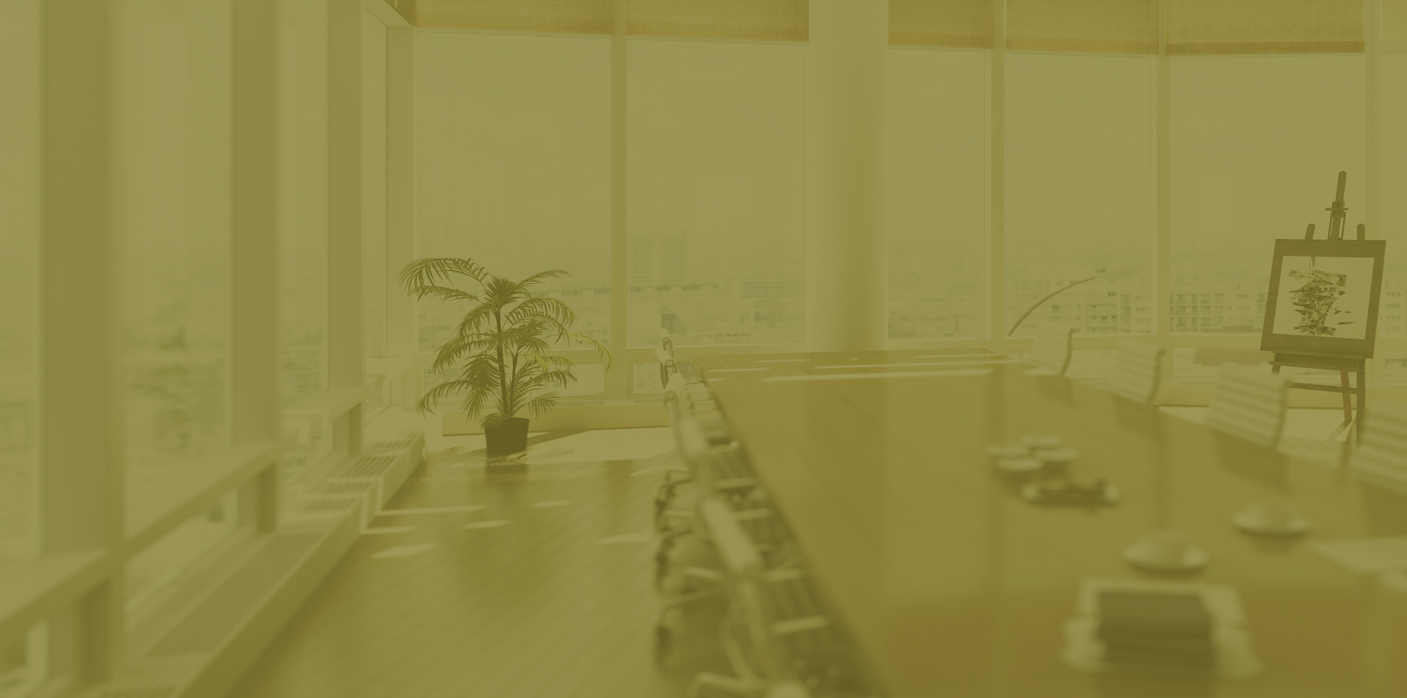 A conference room in an office building with a golden overlay.